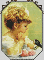 """Girl with Bird"" Passione Ricame"